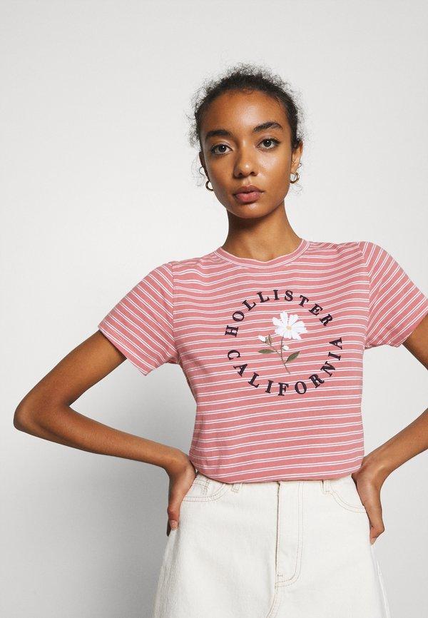 Hollister Co. TECH CORE - T-shirt z nadrukiem - pink W paski Odzież Damska BDGS CC 9