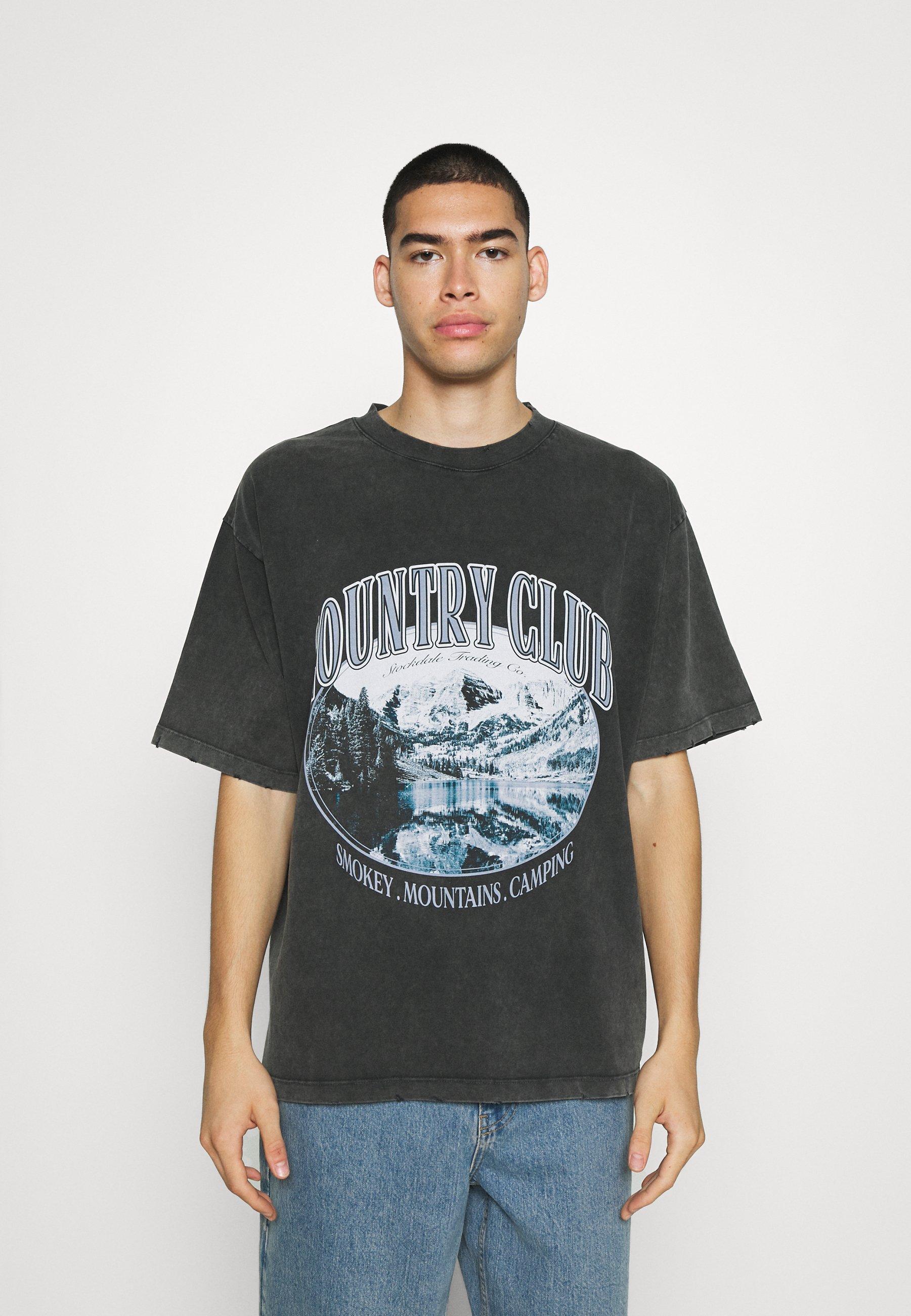 Men WASHED BLACK COUNTRY CLUB  - Print T-shirt