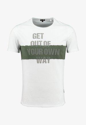 Print T-shirt - white-olive