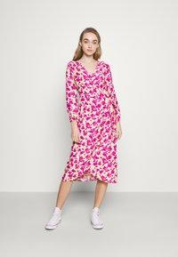 ONLY - ONLPIO LONG WRAP DRESS  - Kjole - pale green/fuchsia purple - 0