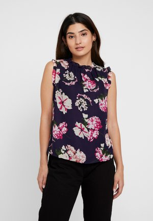 FLORAL RUFFLE SHELL - Bluser - navy