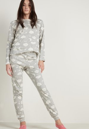 MIT MOND&WOLKE PRINT - Pyjama set - light grey blend moon/cloud print