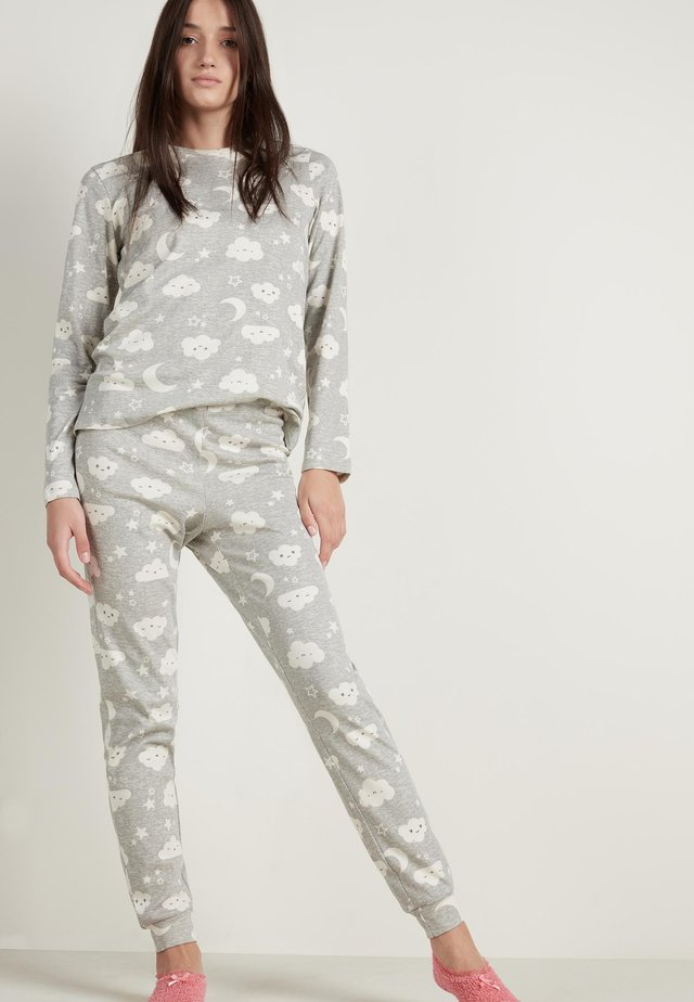 MIT MOND&WOLKE PRINT - Pyjama set - light grey blend moon/cloud print