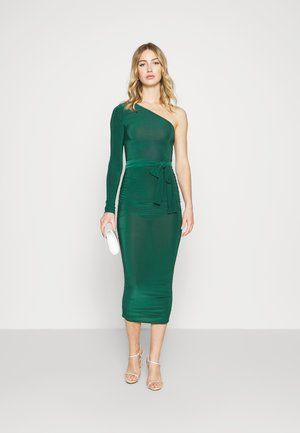 ONE SHOULDER SLINKY MIDI DRESS - Vestido ligero - green