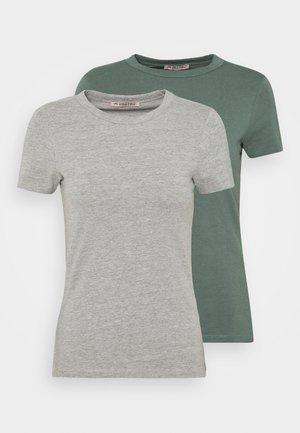 2 PACK - Basic T-shirt - light green/mottled grey