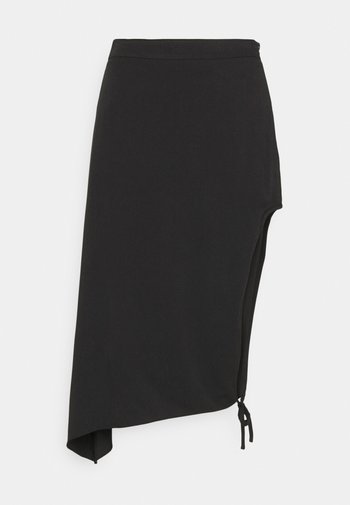 DRAPED HIGH SLIT MIDI SKIRT - Pencil skirt - black