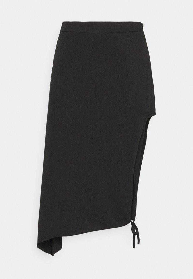 NA-KD - DRAPED HIGH SLIT MIDI SKIRT - Falda de tubo - black