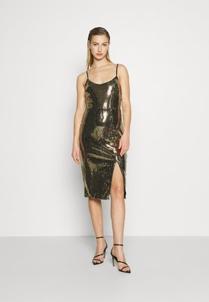 STRAPPY GOLD SEQUIN MIDI DRESS - Cocktail dress / Party dress - black