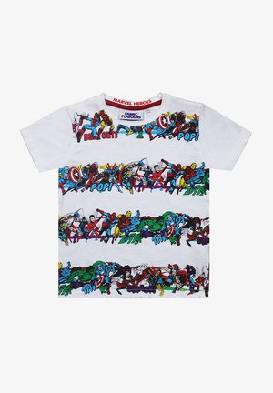 MARVEL HEROES STRIPE TEE - Print T-shirt - white