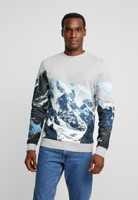TOM TAILOR - CREW NECK WITH MOUNTAIN  - Sweatshirt - middle grey melange - 0