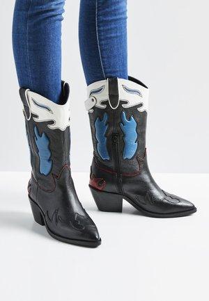WESTERN W MID - Cowboy/Biker boots - black