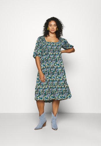 WAFFLE SQUARE NECK TIERED MIDI DRESS - Day dress - blue