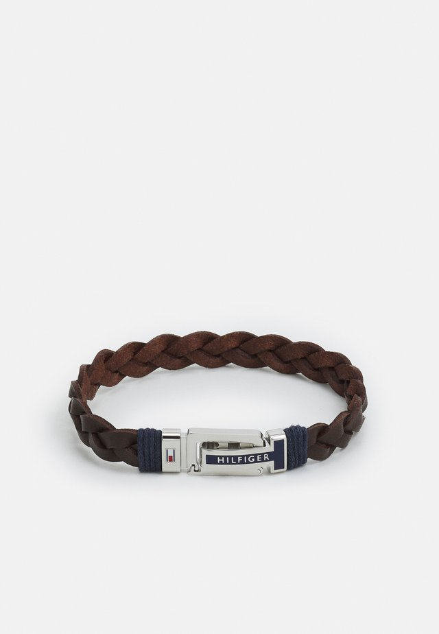 FLAT BRAIDED BRACELET - Náramek - brown/silver