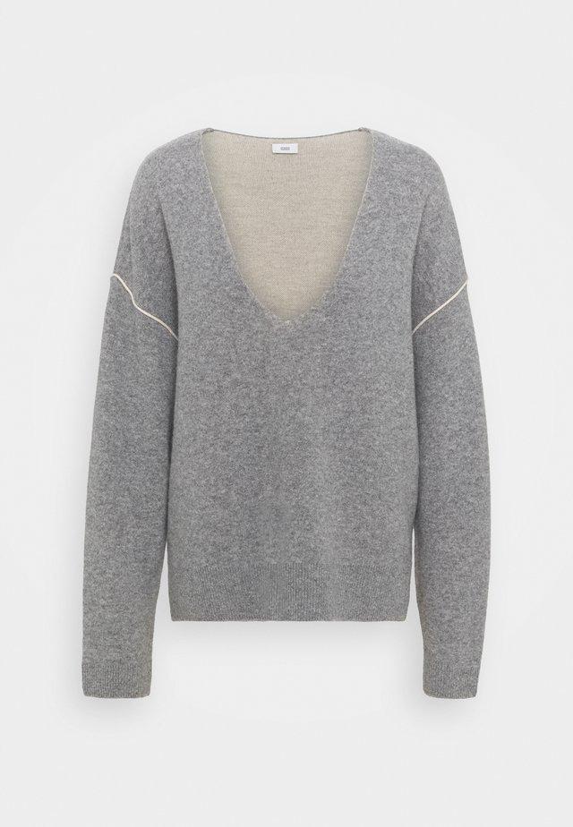 V NECK JUMPER - Pullover - grey heather melange