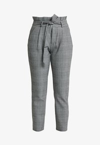 Vero Moda Petite - PAPER BAG CHECK PANT - Trousers - grey/white - 4