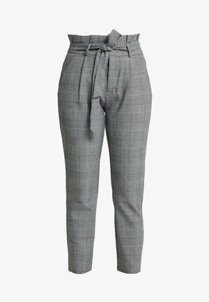 PAPER BAG CHECK PANT - Trousers - grey/white
