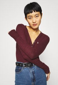 Abercrombie & Fitch - COZY HENLEY  - Long sleeved top - burgundy - 4