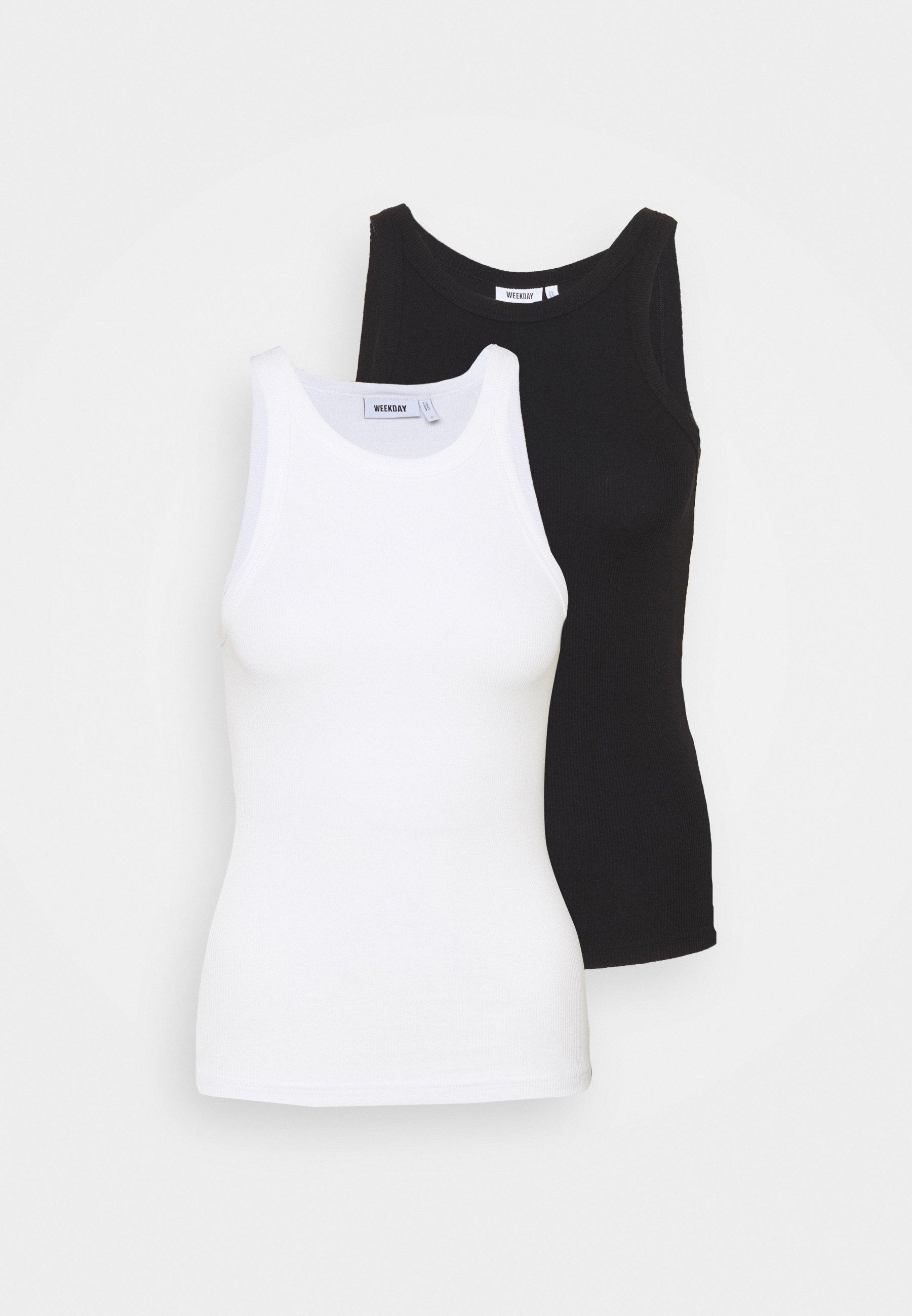Weekday Beth 2 Pack - Topper Black /white/svart
