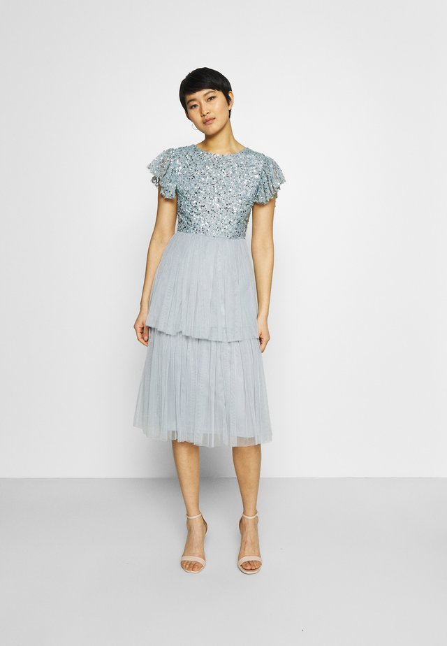 DELICATE SEQUIN TIERED DRESS - Cocktail dress / Party dress - glacier blue