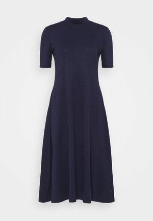 Short sleeves flared basic midi dress - Trikoomekko - dark blue