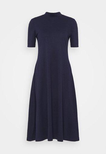 Short sleeves flared basic midi dress - Jersey dress - dark blue