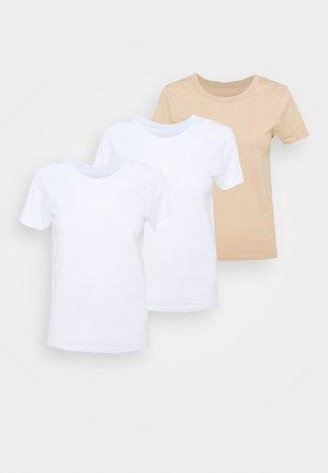 3 PACK - Camiseta estampada - white/beige
