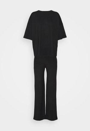 TEE AND WIDE LEG SET - Trousers - black