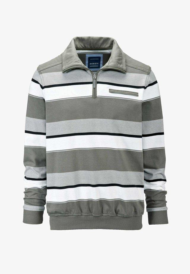 Sweatshirt - oliv,weiß