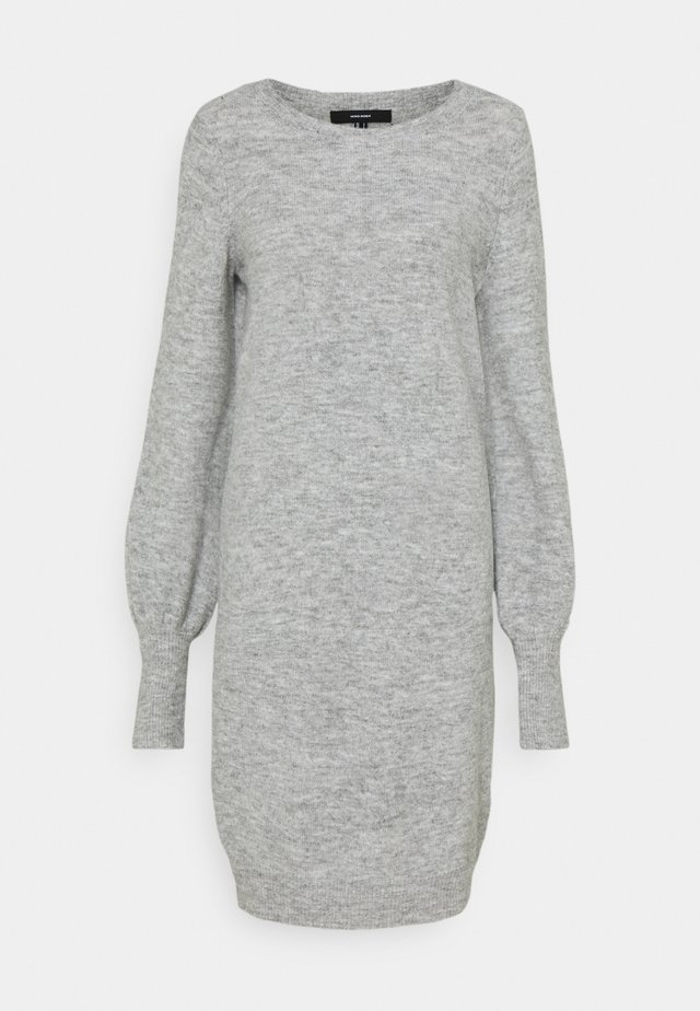 VMSIMONE O NECK DRESS - Strikket kjole - light grey melange