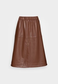 SKIRT - Leather skirt - chocolate brown