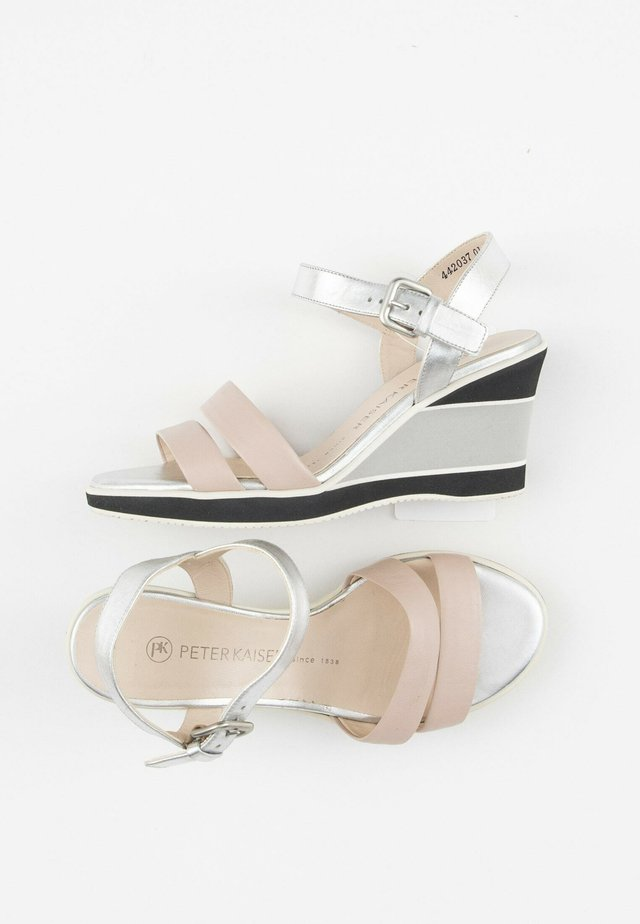 Sandalen met sleehak - silver