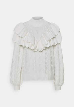 SLFVICTORIA CABLE HIGHNECK - Jumper - snow white
