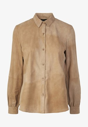 Button-down blouse - tawny brown