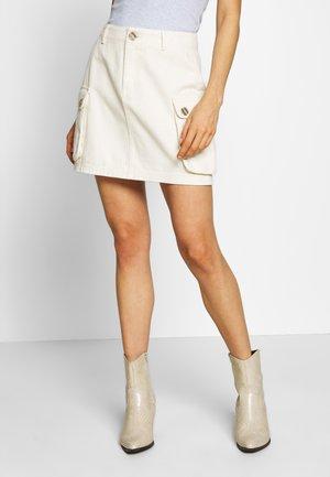 POCKET SKIRT - Mini skirt - ecru