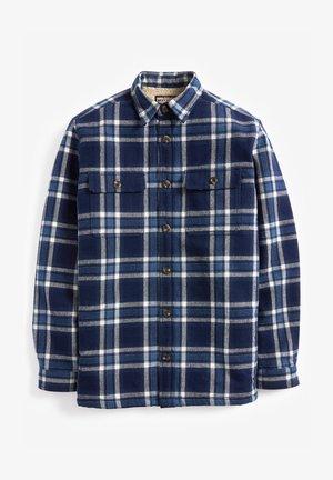 CHECK BORG LINED TWIN POCKET SHACKET - Camisa - blue
