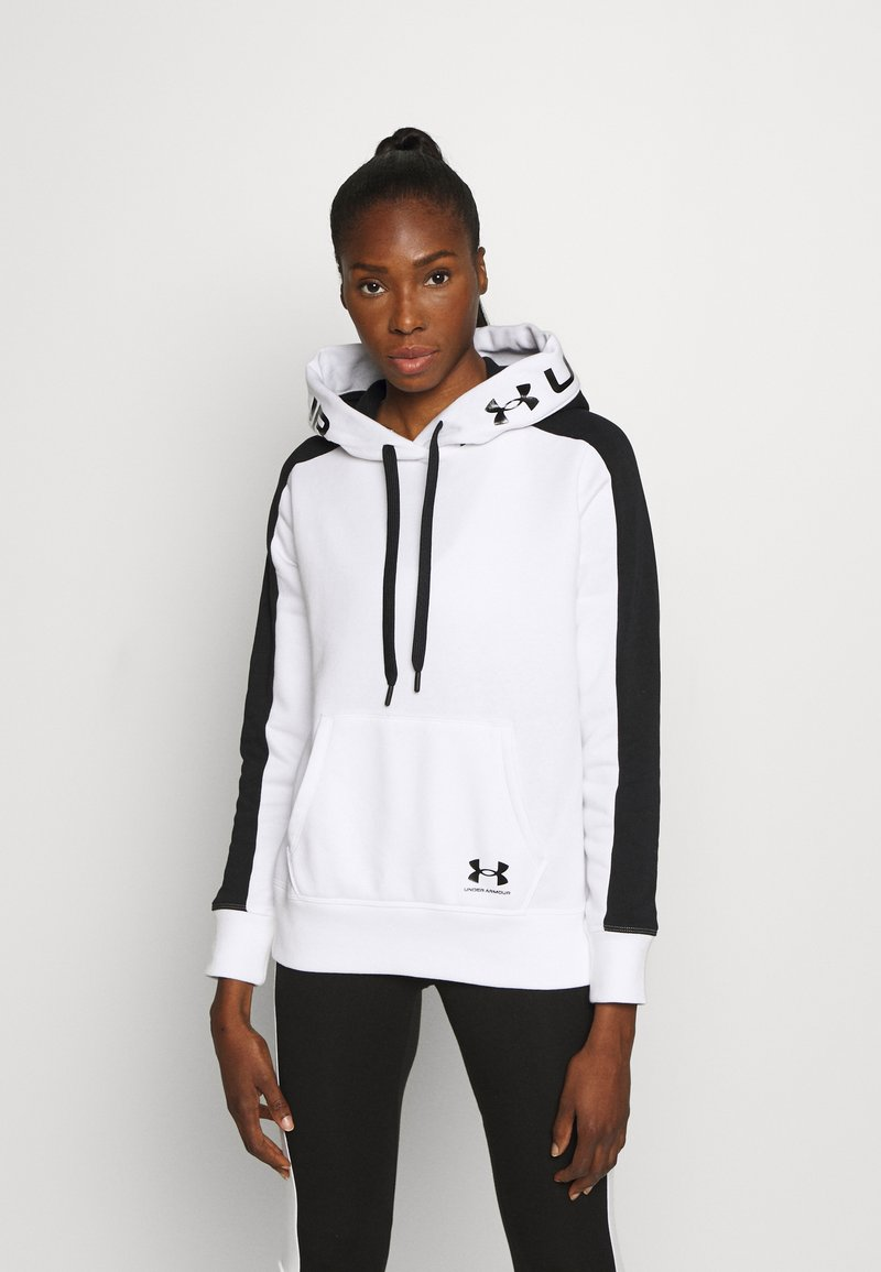 Under Armour - RIVAL HOODIE - Mikina s kapucí - white