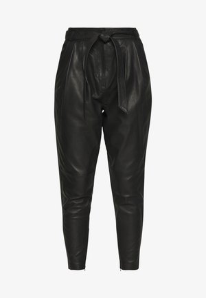 ROYAL ANKLE - Leather trousers - black