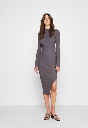 FUNNEL NECK SIDE SPLIT MIDI DRESS - Gebreide jurk - charcoal