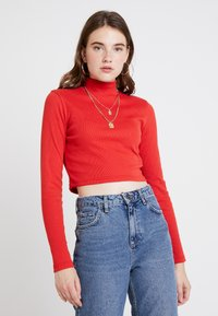 Missguided - HIGH NECK CROP 2 PACK - Long sleeved top - black/red - 2