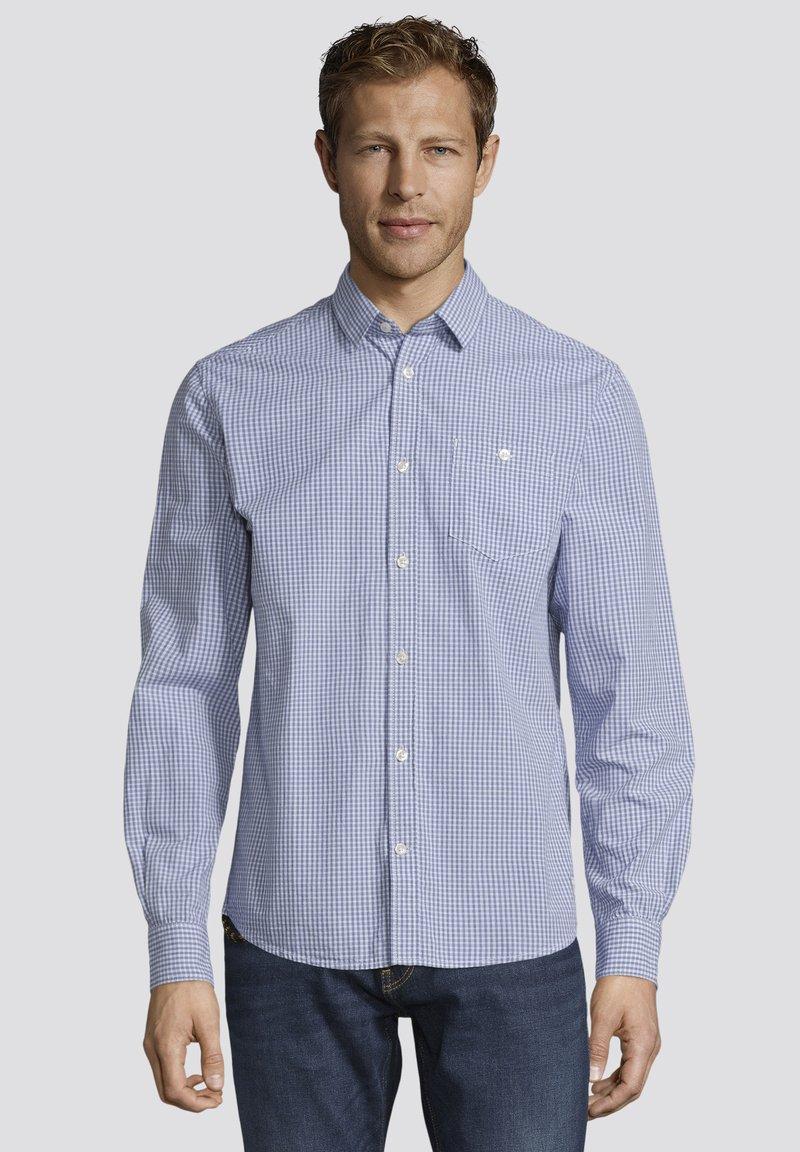 TOM TAILOR - MIT BRUSTTASCHE - Shirt - light blue fil a fil vichy