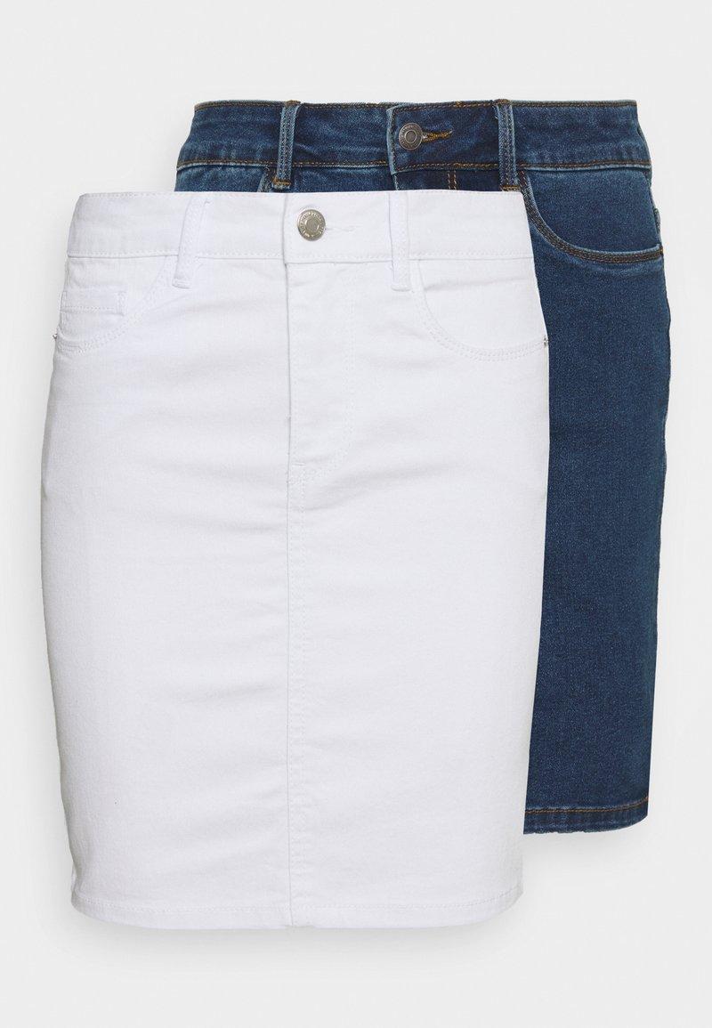 Vero Moda Tall - VMHOT SEVEN SKIRT 2 PACK - Mini skirt - medium blue denim/bright white
