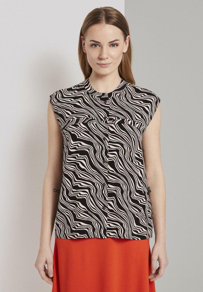 TOM TAILOR - Button-down blouse - black wavy design