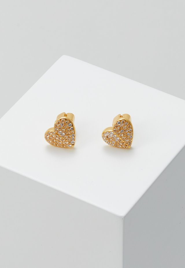 PAVE SMALL HEART STUDS - Oorbellen - clear/gold-coloured
