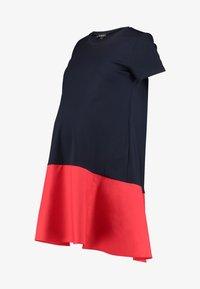 Jersey dress - blue/coral