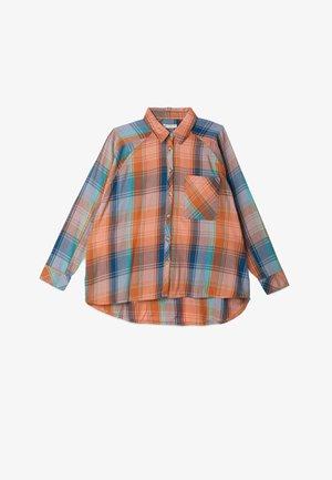 Button-down blouse - blue, orange