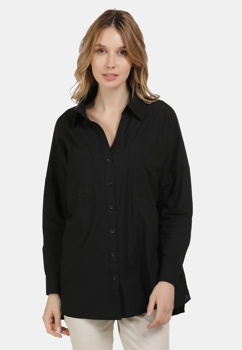 usha - BLUSE - Button-down blouse - schwarz