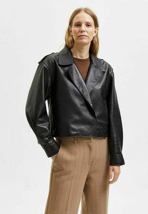 ETWAS KÜRZER GESCHNITTEN - Leather jacket - black
