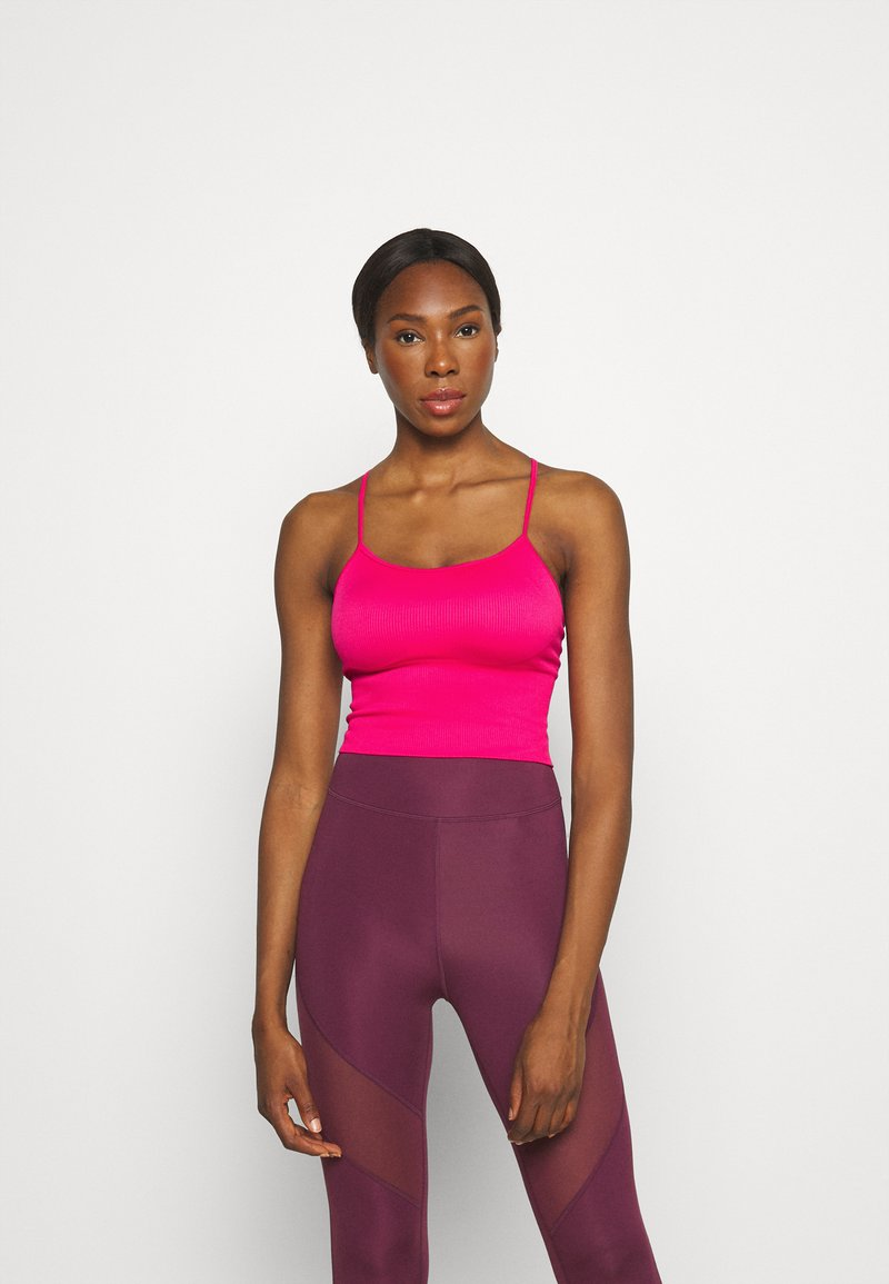 DKNY - SEAMLESS STRAPPY CROP REMOVEABLE CUPS - Top - beetroot