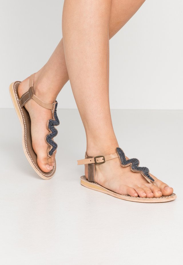 ZIGGY FLAT - T-bar sandals - tan/gun metal