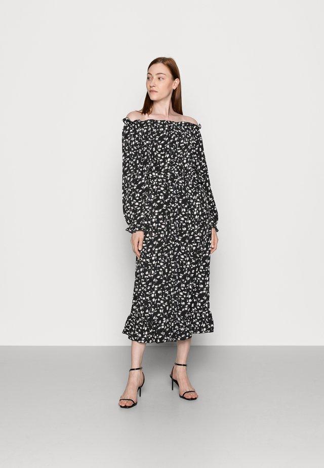 FLORAL BELTED FRILL HEM DRESS - Sukienka letnia - black